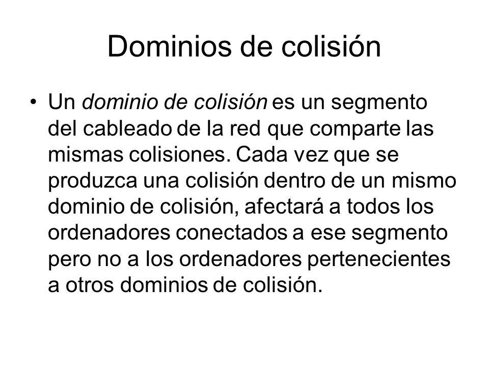 Dominios de colisión Un dominio de colisión es un segmento del cableado de la red que comparte las mismas colisiones. Cada vez que se produzca una col