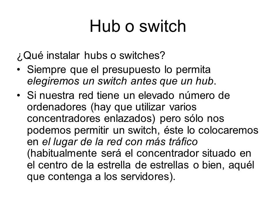 Hub o switch ¿Qué instalar hubs o switches? Siempre que el presupuesto lo permita elegiremos un switch antes que un hub. Si nuestra red tiene un eleva