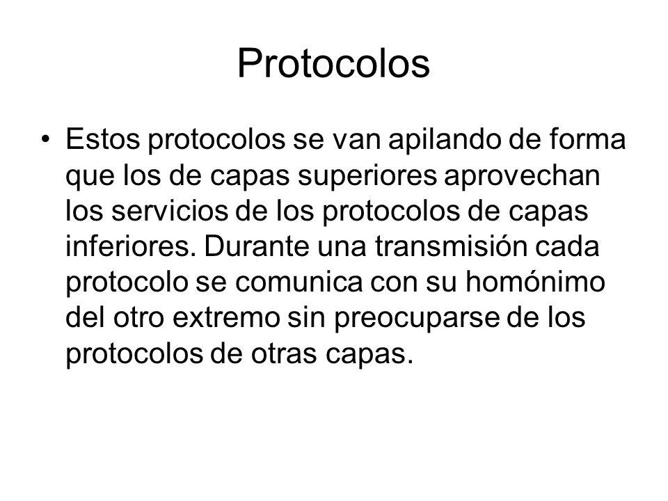 Protocolos Estos protocolos se van apilando de forma que los de capas superiores aprovechan los servicios de los protocolos de capas inferiores. Duran