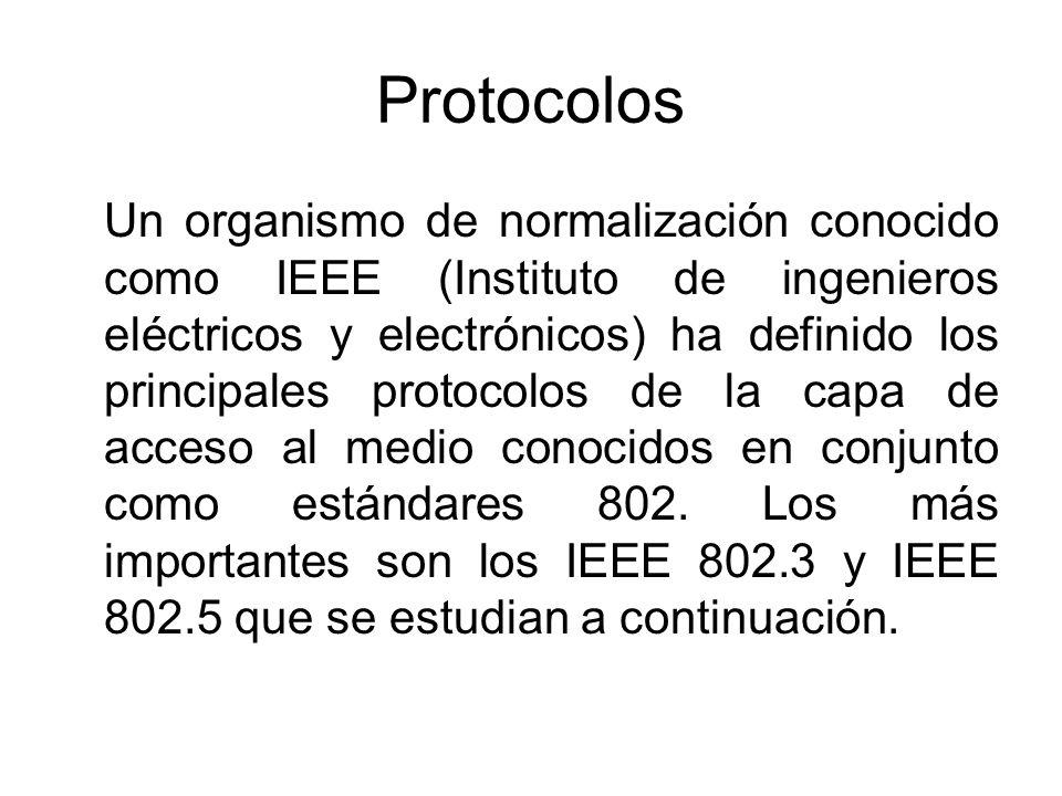 Protocolos Un organismo de normalización conocido como IEEE (Instituto de ingenieros eléctricos y electrónicos) ha definido los principales protocolos