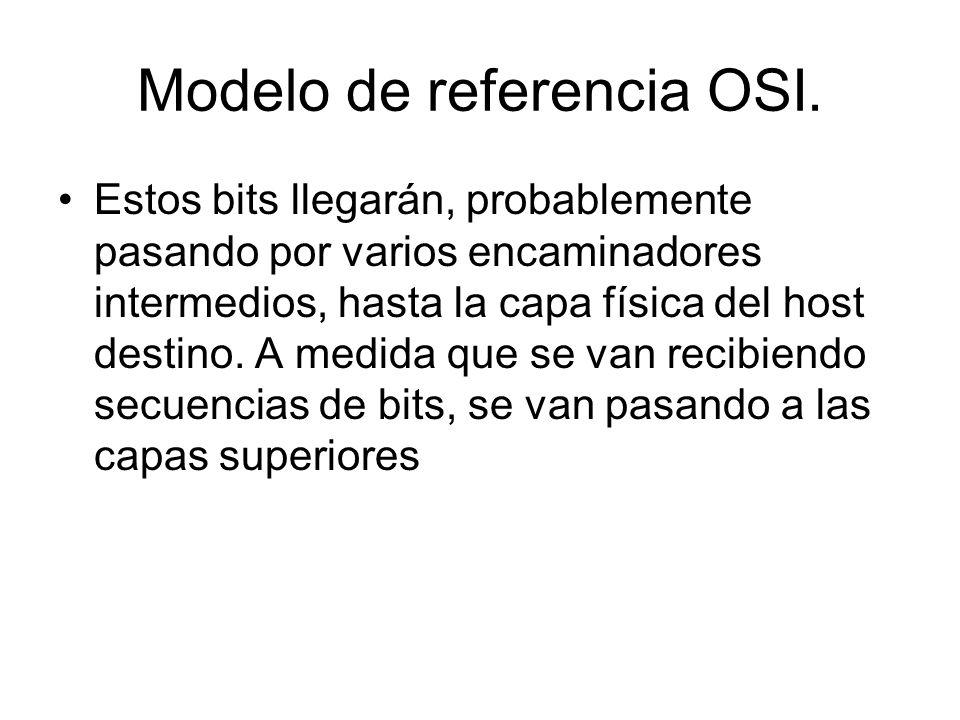 Modelo de referencia OSI. Estos bits llegarán, probablemente pasando por varios encaminadores intermedios, hasta la capa física del host destino. A me