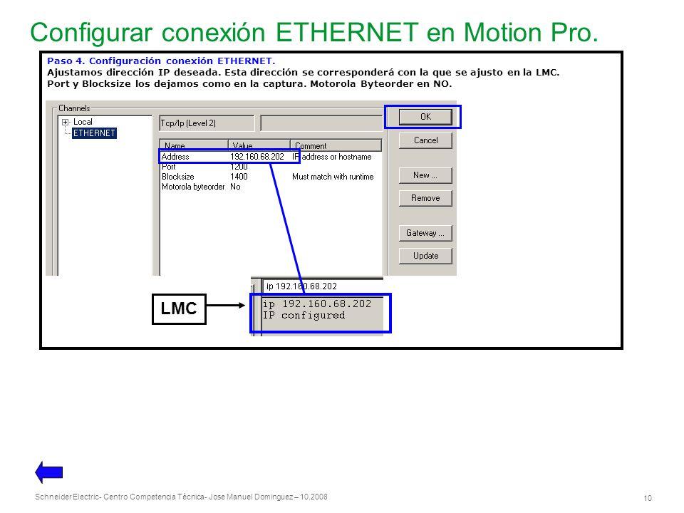 Schneider Electric 10 - Centro Competencia Técnica- Jose Manuel Dominguez – 10.2008 Configurar conexión ETHERNET en Motion Pro. Paso 4. Configuración