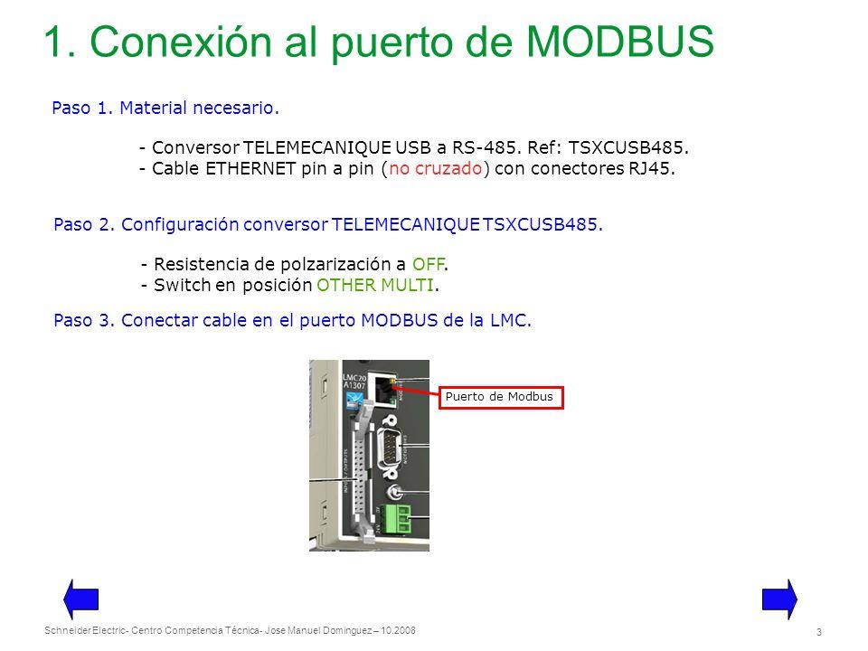 Schneider Electric 3 - Centro Competencia Técnica- Jose Manuel Dominguez – 10.2008 1. Conexión al puerto de MODBUS Paso 1. Material necesario. - Conve