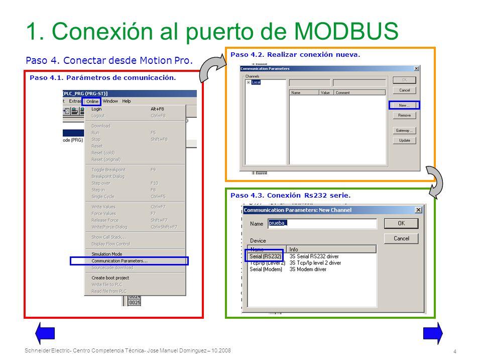 Schneider Electric 4 - Centro Competencia Técnica- Jose Manuel Dominguez – 10.2008 1. Conexión al puerto de MODBUS Paso 4. Conectar desde Motion Pro.