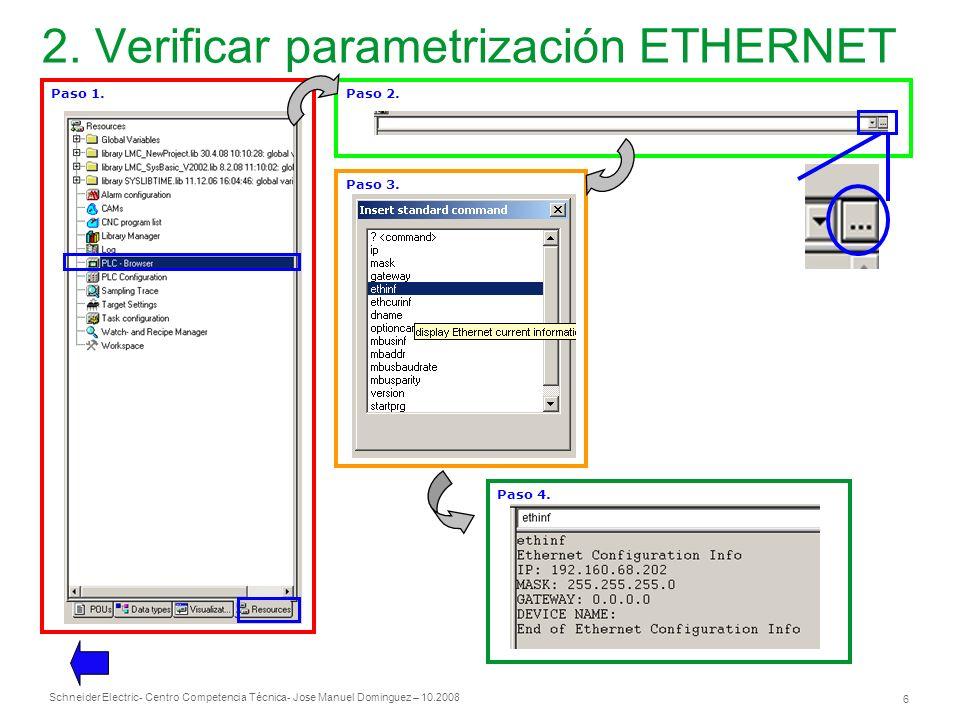 Schneider Electric 6 - Centro Competencia Técnica- Jose Manuel Dominguez – 10.2008 2. Verificar parametrización ETHERNET Paso 1.Paso 2.Paso 3. Paso 4.
