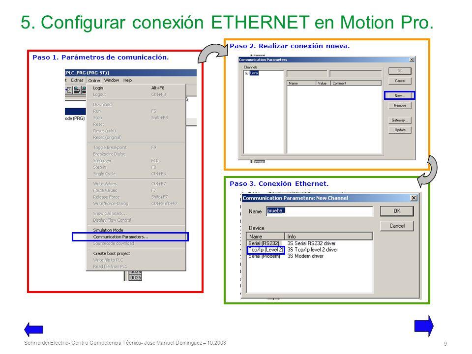 Schneider Electric 9 - Centro Competencia Técnica- Jose Manuel Dominguez – 10.2008 5. Configurar conexión ETHERNET en Motion Pro. Paso 1. Parámetros d