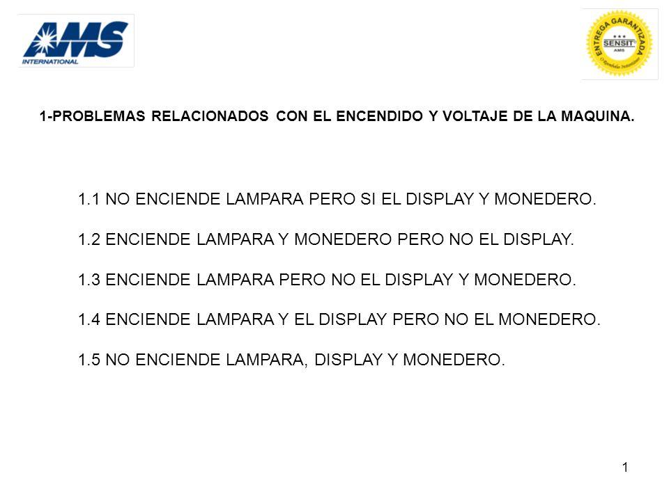 1 1-PROBLEMAS RELACIONADOS CON EL ENCENDIDO Y VOLTAJE DE LA MAQUINA. 1.1 NO ENCIENDE LAMPARA PERO SI EL DISPLAY Y MONEDERO. 1.2 ENCIENDE LAMPARA Y MON