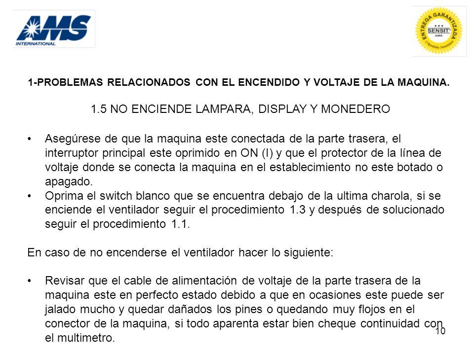 10 1-PROBLEMAS RELACIONADOS CON EL ENCENDIDO Y VOLTAJE DE LA MAQUINA. 1.5 NO ENCIENDE LAMPARA, DISPLAY Y MONEDERO Asegúrese de que la maquina este con