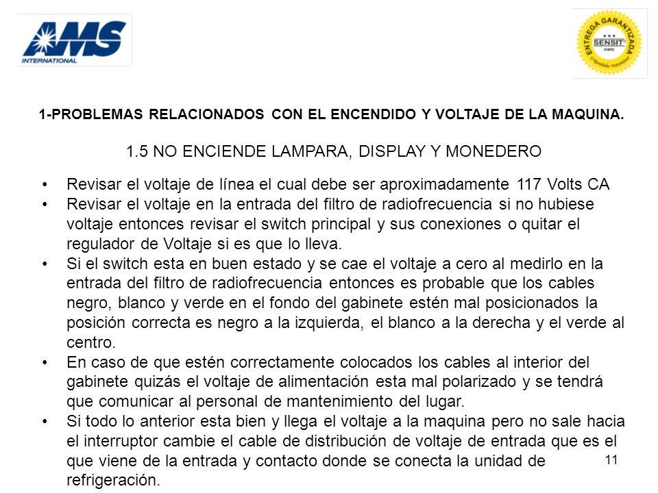 11 1-PROBLEMAS RELACIONADOS CON EL ENCENDIDO Y VOLTAJE DE LA MAQUINA. 1.5 NO ENCIENDE LAMPARA, DISPLAY Y MONEDERO Revisar el voltaje de línea el cual