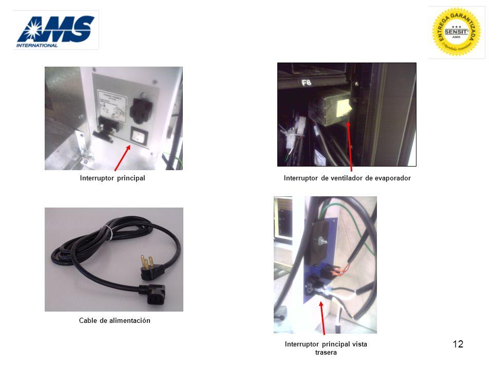 12 Cable de alimentación Interruptor principal Interruptor de ventilador de evaporador Interruptor principal vista trasera
