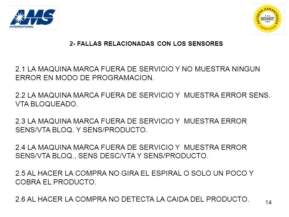14 2- FALLAS RELACIONADAS CON LOS SENSORES 2.1 LA MAQUINA MARCA FUERA DE SERVICIO Y NO MUESTRA NINGUN ERROR EN MODO DE PROGRAMACION. 2.2 LA MAQUINA MA