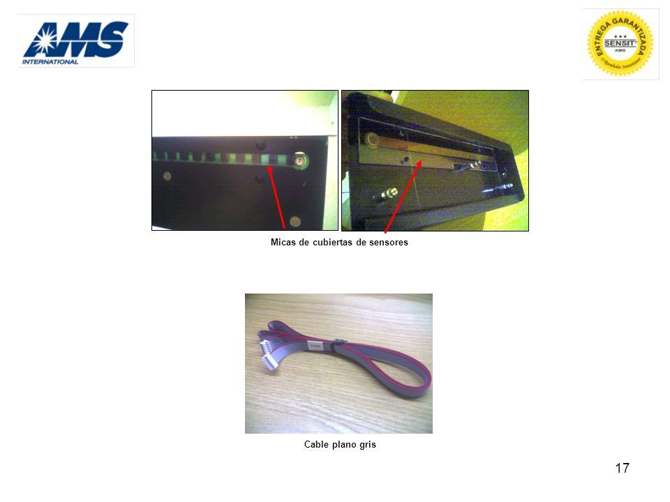 17 Micas de cubiertas de sensores Cable plano gris