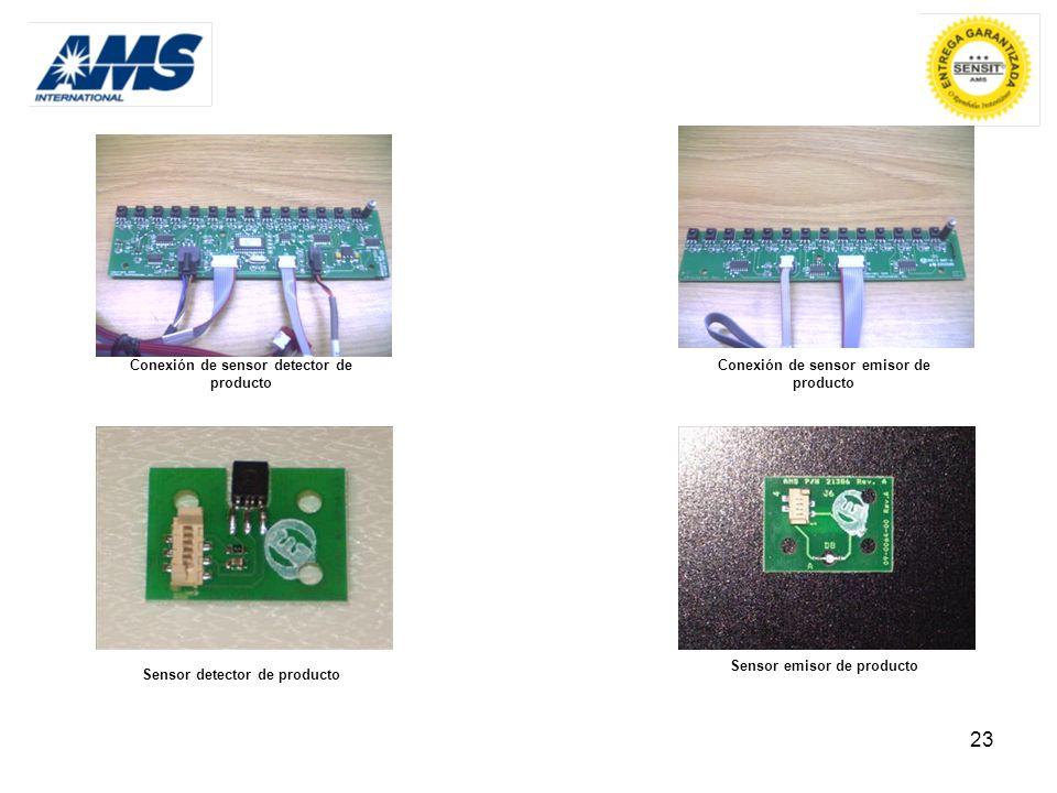 23 Conexión de sensor detector de producto Sensor emisor de producto Conexión de sensor emisor de producto Sensor detector de producto