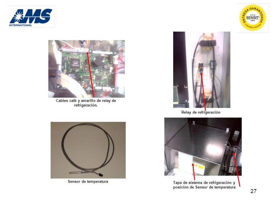27 Cables café y amarillo de relay de refrigeración. Relay de refrigeración Sensor de temperatura Tapa de sistema de refrigeración y posición de Senso