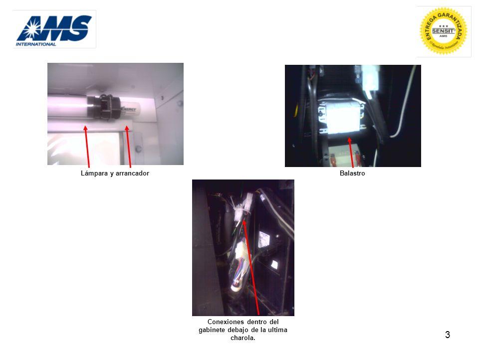 3 Lámpara y arrancador Conexiones dentro del gabinete debajo de la ultima charola. Balastro