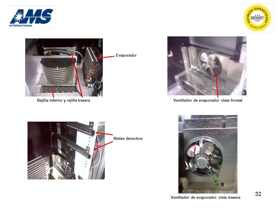 32 Rejilla inferior y rejilla trasera Evaporador Ventilador de evaporador vista frontal Rieles derechos Ventilador de evaporador vista trasera