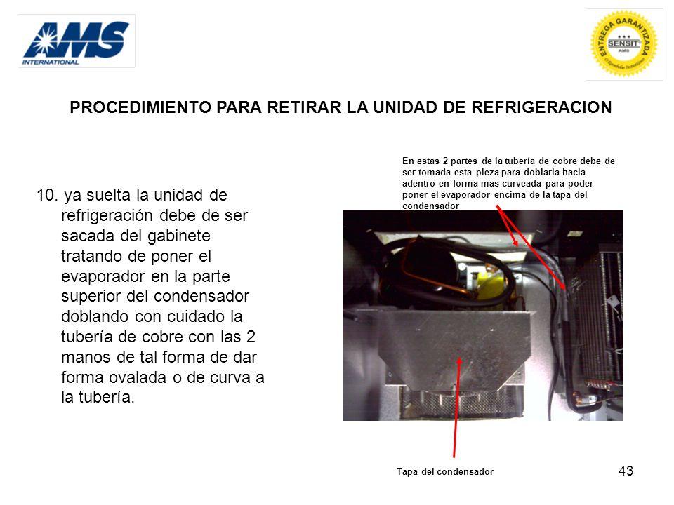 43 PROCEDIMIENTO PARA RETIRAR LA UNIDAD DE REFRIGERACION 10. ya suelta la unidad de refrigeración debe de ser sacada del gabinete tratando de poner el