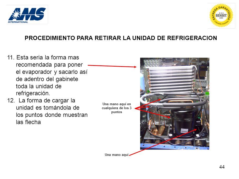 44 PROCEDIMIENTO PARA RETIRAR LA UNIDAD DE REFRIGERACION 11. Esta seria la forma mas recomendada para poner el evaporador y sacarlo así de adentro del