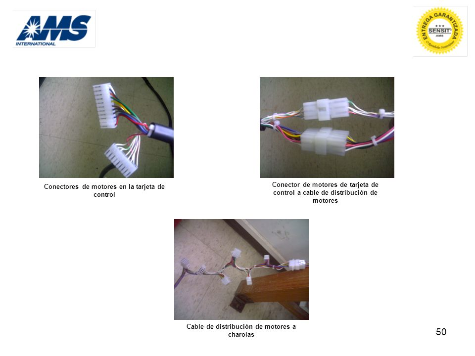 50 Conectores de motores en la tarjeta de control Conector de motores de tarjeta de control a cable de distribución de motores Cable de distribución d