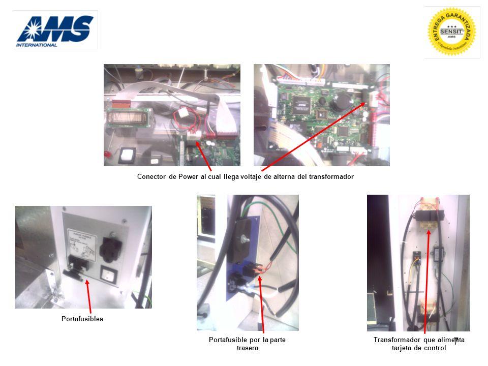 7 PortafusiblesConector de Power al cual llega voltaje de alterna del transformador Transformador que alimenta tarjeta de control Portafusible por la