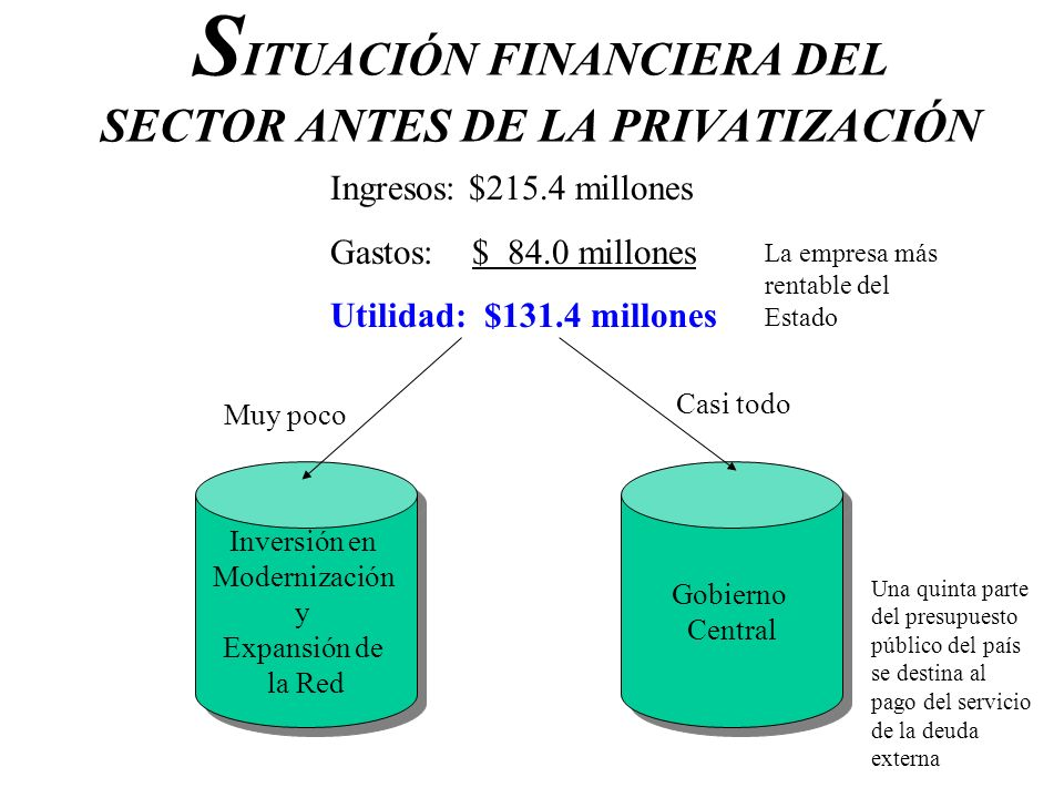 S ITUACIÓN FINANCIERA DEL SECTOR ANTES DE LA PRIVATIZACIÓN Ingresos: $215.4 millones Gastos: $ 84.0 millones Utilidad: $131.4 millones Gobierno Centra