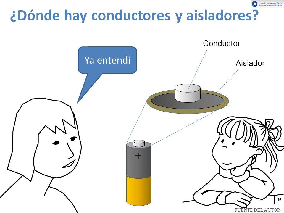 Ya entendí + Conductor Aislador ¿Dónde hay conductores y aisladores? 16 FUENTE DEL AUTOR