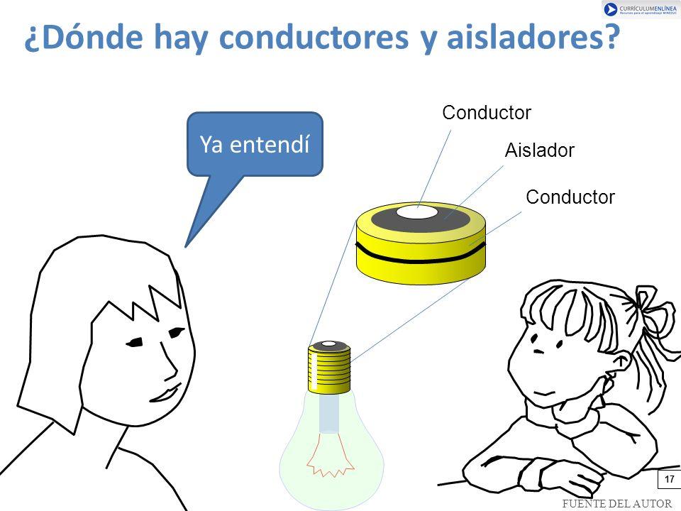 Ya entendí Conductor Aislador Conductor ¿Dónde hay conductores y aisladores? 17 FUENTE DEL AUTOR