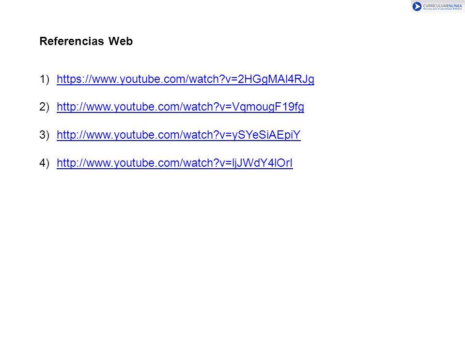 Referencias Web 1)https://www.youtube.com/watch?v=2HGgMAl4RJghttps://www.youtube.com/watch?v=2HGgMAl4RJg 2)http://www.youtube.com/watch?v=VqmougF19fghttp://www.youtube.com/watch?v=VqmougF19fg 3)http://www.youtube.com/watch?v=ySYeSiAEpiYhttp://www.youtube.com/watch?v=ySYeSiAEpiY 4)http://www.youtube.com/watch?v=ljJWdY4lOrIhttp://www.youtube.com/watch?v=ljJWdY4lOrI