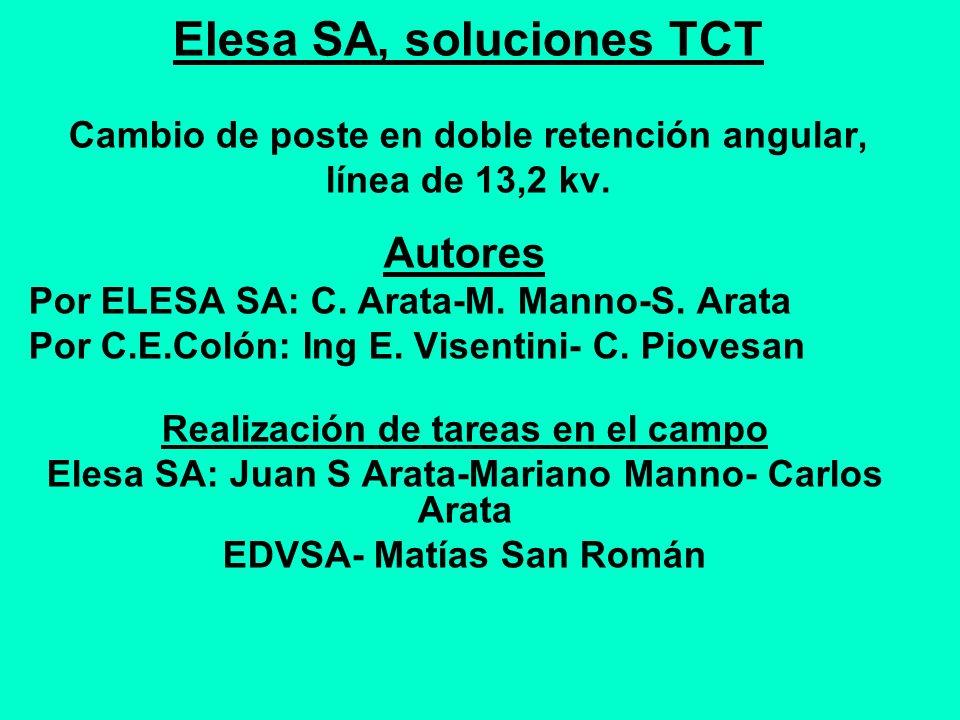 Elesa SA, soluciones TCT Cambio de poste en doble retención angular, línea de 13,2 kv. Autores Por ELESA SA: C. Arata-M. Manno-S. Arata Por C.E.Colón: