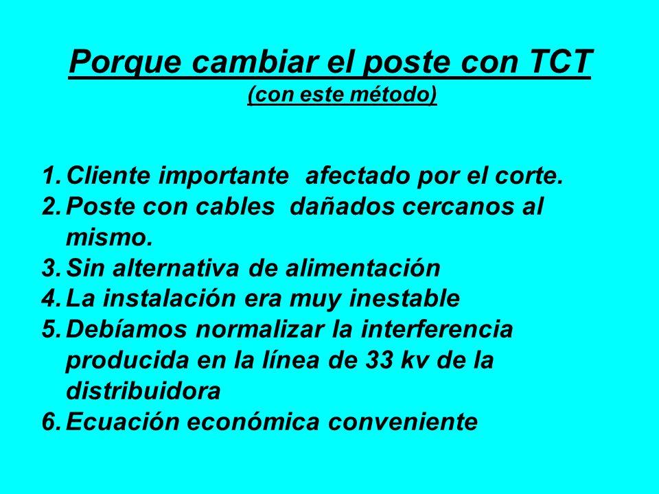 Porque cambiar el poste con TCT (con este método) 1.Cliente importante afectado por el corte. 2.Poste con cables dañados cercanos al mismo. 3.Sin alte