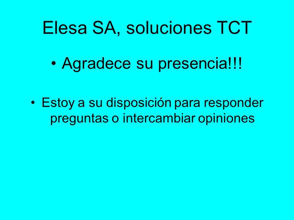 Elesa SA, soluciones TCT Agradece su presencia!!! Estoy a su disposición para responder preguntas o intercambiar opiniones