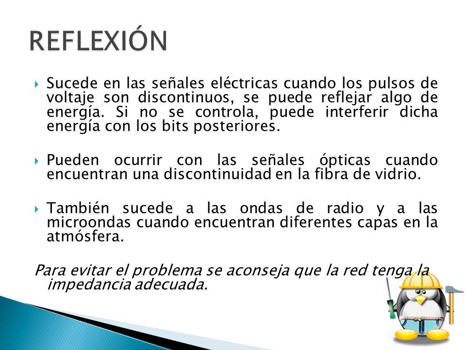 Sucede en las señales eléctricas cuando los pulsos de voltaje son discontinuos, se puede reflejar algo de energía. Si no se controla, puede interferir