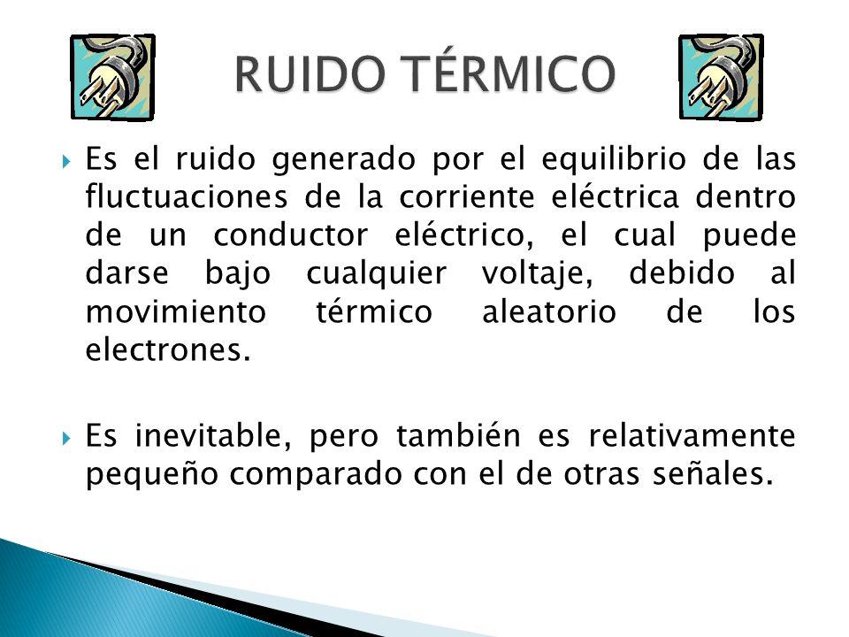 Es el ruido generado por el equilibrio de las fluctuaciones de la corriente eléctrica dentro de un conductor eléctrico, el cual puede darse bajo cualq