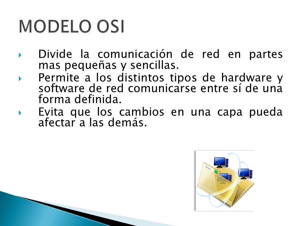 Divide la comunicación de red en partes mas pequeñas y sencillas. Permite a los distintos tipos de hardware y software de red comunicarse entre sí de