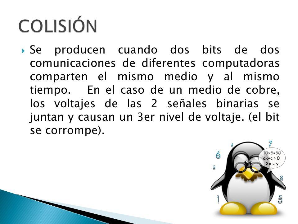 Se producen cuando dos bits de dos comunicaciones de diferentes computadoras comparten el mismo medio y al mismo tiempo. En el caso de un medio de cob