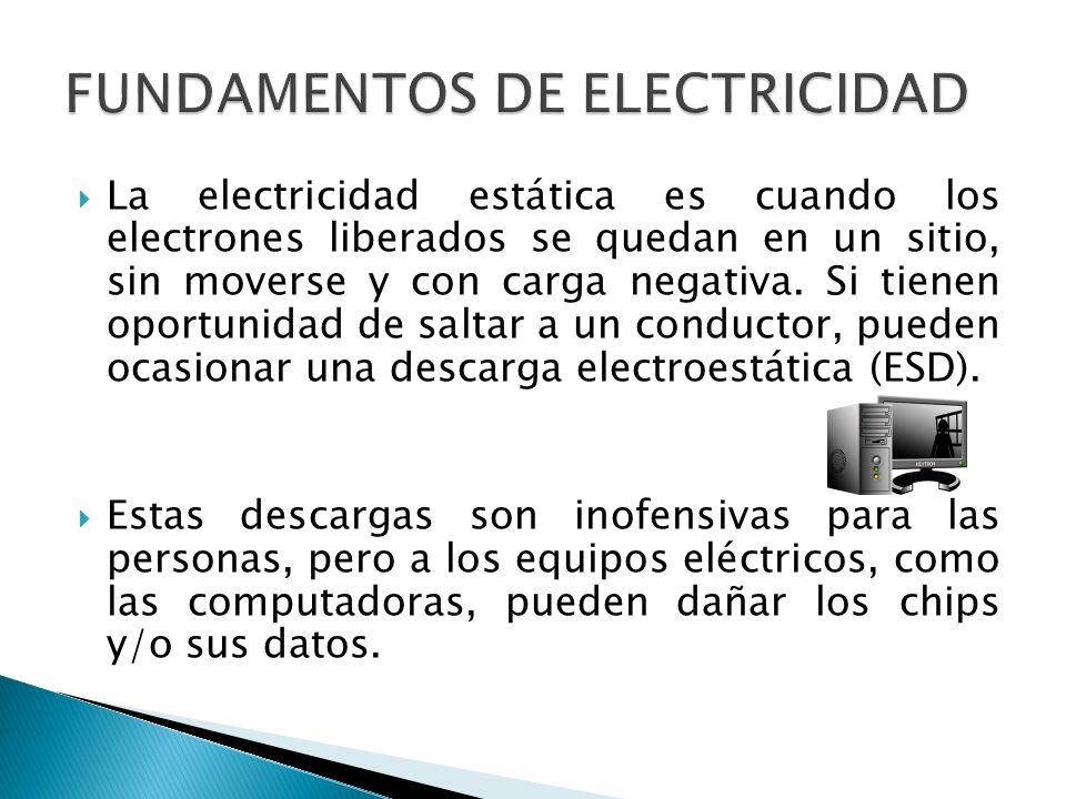 La electricidad estática es cuando los electrones liberados se quedan en un sitio, sin moverse y con carga negativa. Si tienen oportunidad de saltar a