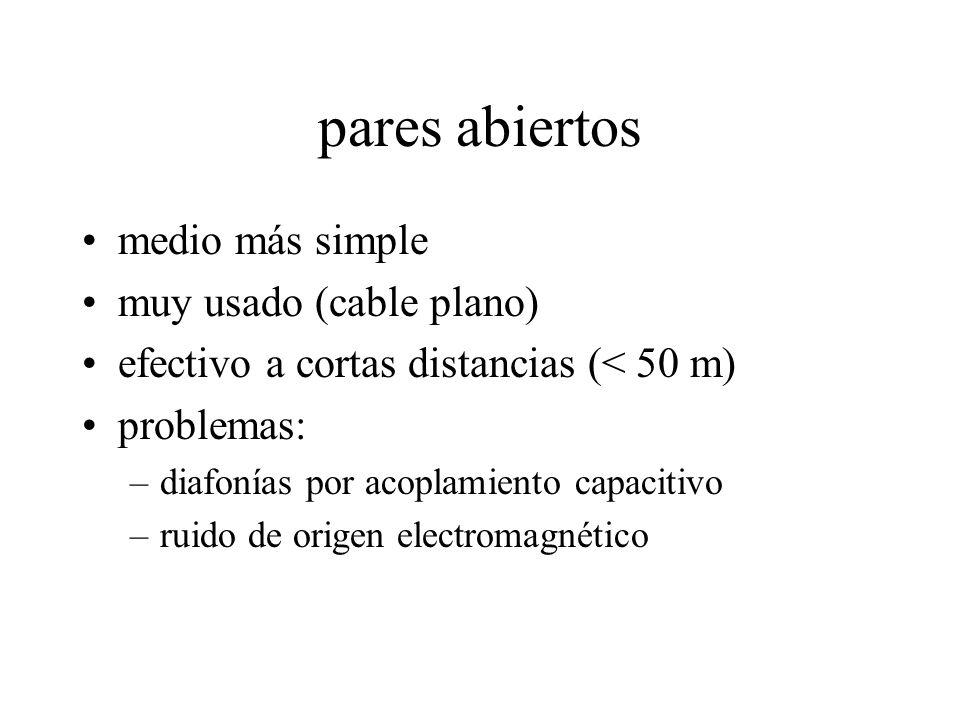 pares abiertos medio más simple muy usado (cable plano) efectivo a cortas distancias (< 50 m) problemas: –diafonías por acoplamiento capacitivo –ruido de origen electromagnético