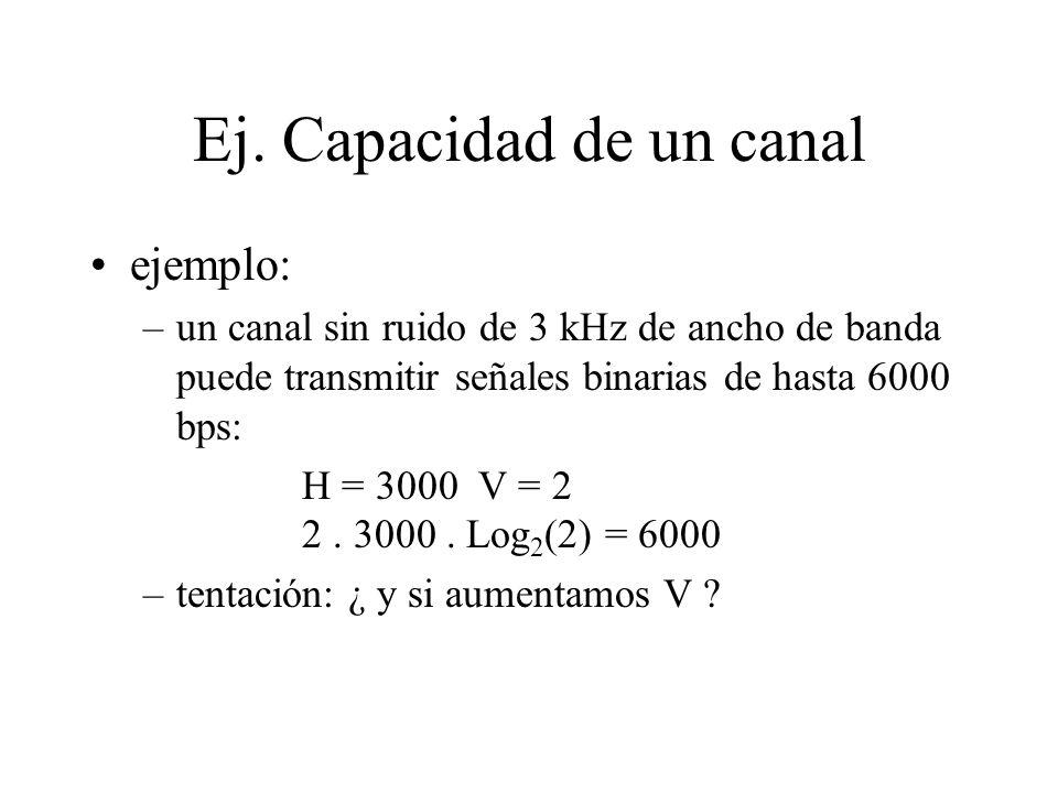 Ej. Capacidad de un canal ejemplo: –un canal sin ruido de 3 kHz de ancho de banda puede transmitir señales binarias de hasta 6000 bps: H = 3000 V = 2