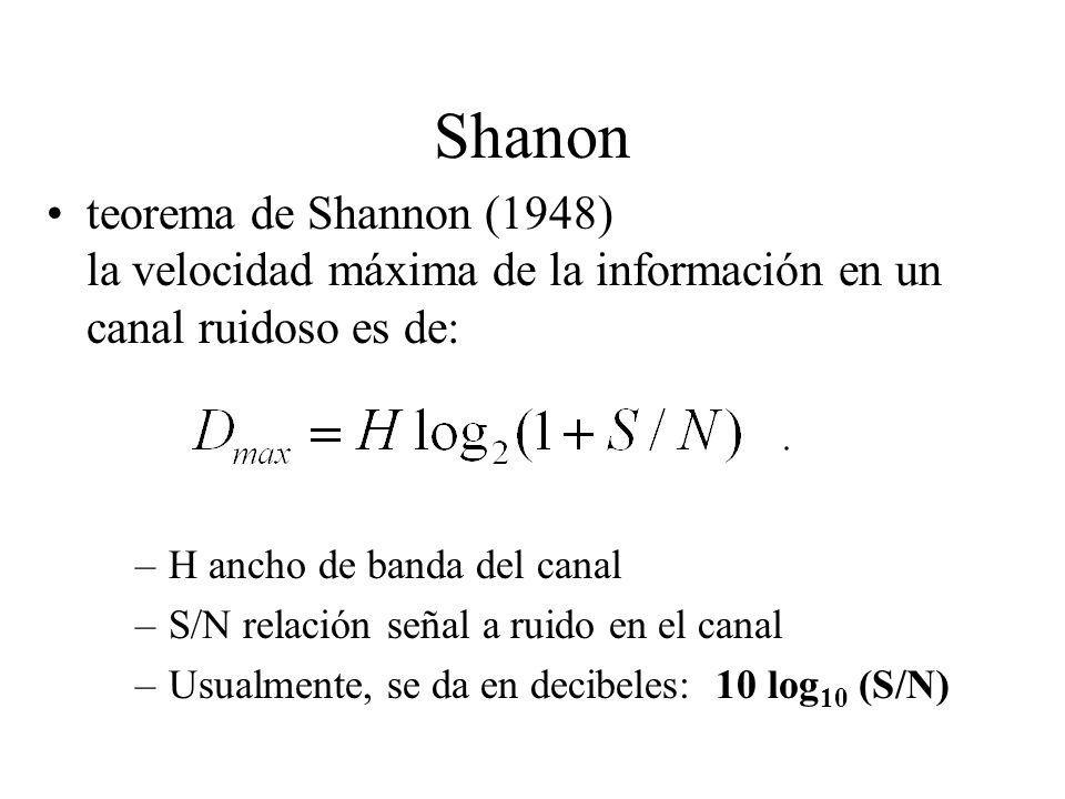 Shanon teorema de Shannon (1948) la velocidad máxima de la información en un canal ruidoso es de: –H ancho de banda del canal –S/N relación señal a ruido en el canal –Usualmente, se da en decibeles: 10 log 10 (S/N)