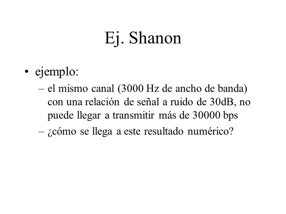 Ej. Shanon ejemplo: –el mismo canal (3000 Hz de ancho de banda) con una relación de señal a ruido de 30dB, no puede llegar a transmitir más de 30000 b