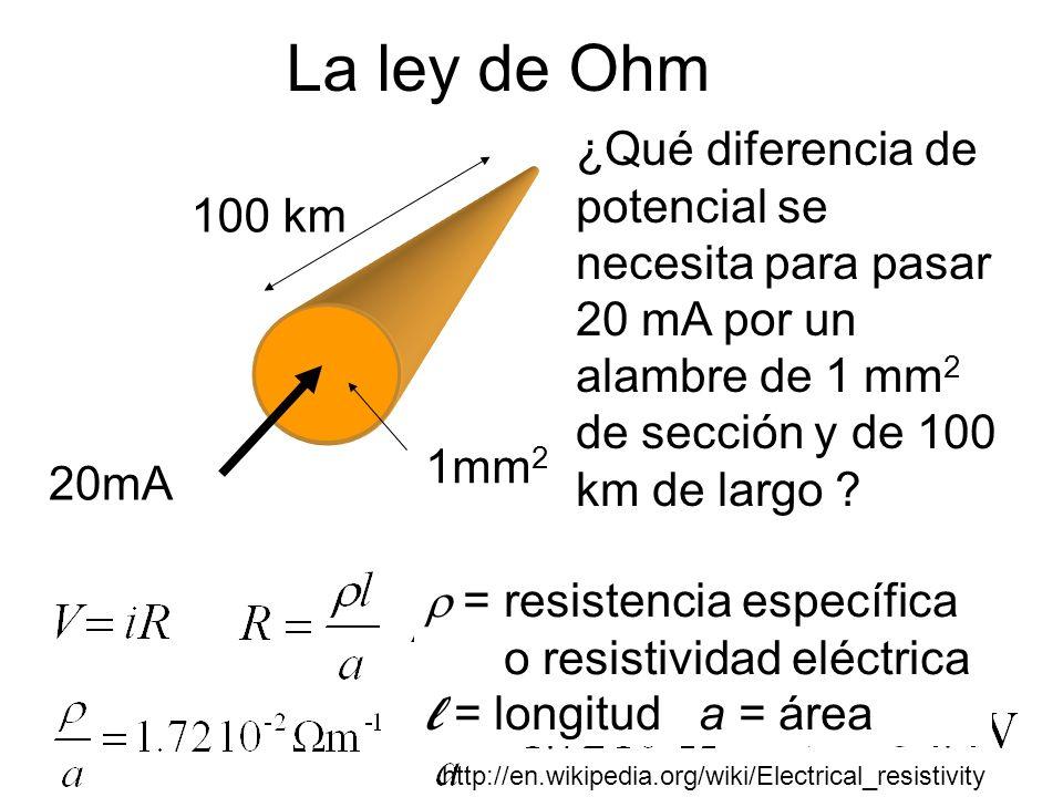 La ley de Ohm 20mA 100 km 1mm 2 ¿Qué diferencia de potencial se necesita para pasar 20 mA por un alambre de 1 mm 2 de sección y de 100 km de largo ? =