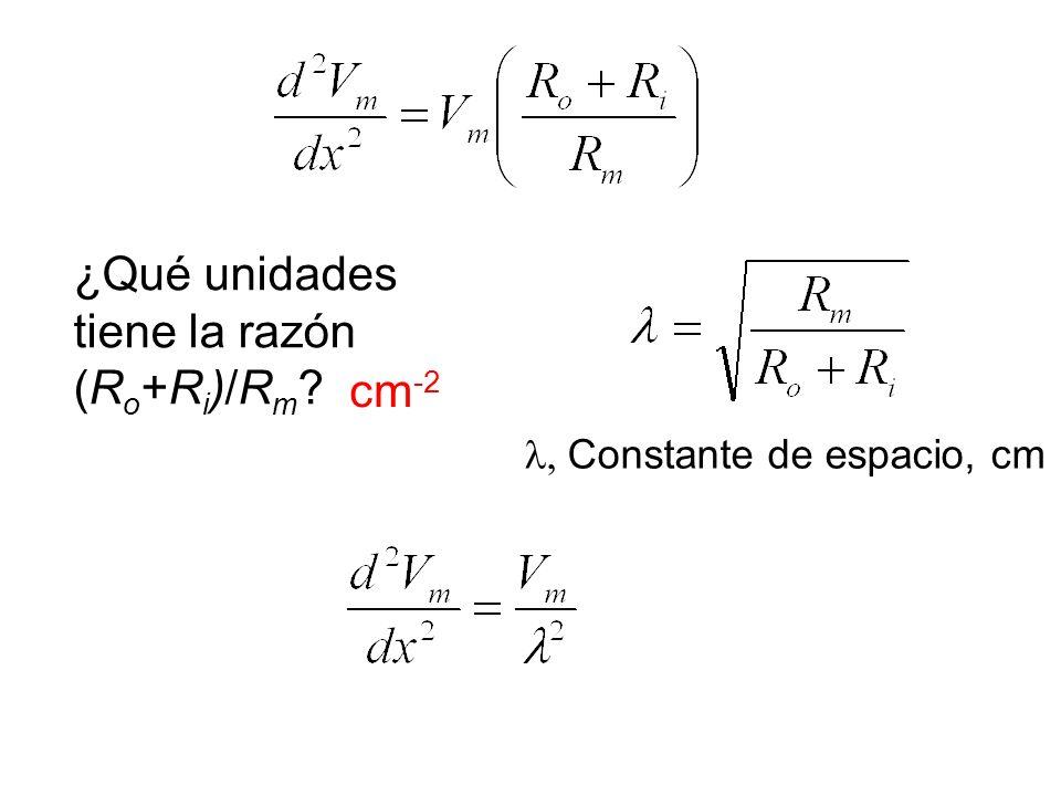¿Qué unidades tiene la razón (R o +R i )/R m ? cm -2, Constante de espacio, cm