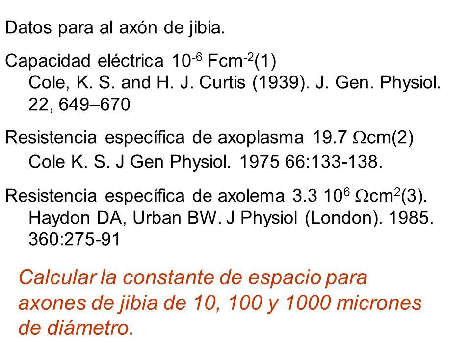 Datos para al axón de jibia. Capacidad eléctrica 10 -6 Fcm -2 (1) Cole, K. S. and H. J. Curtis (1939). J. Gen. Physiol. 22, 649–670 Resistencia especí
