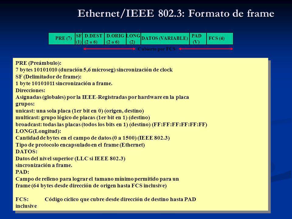 Sebastián Barbieri 10 Ethernet/IEEE 802.3: Formato de frame PRE (Preámbulo): 7 bytes 10101010 (duración 5,6 microseg) sincronización de clock SF (Delimitador de frame): 1 byte 10101011 sincronización a frame.