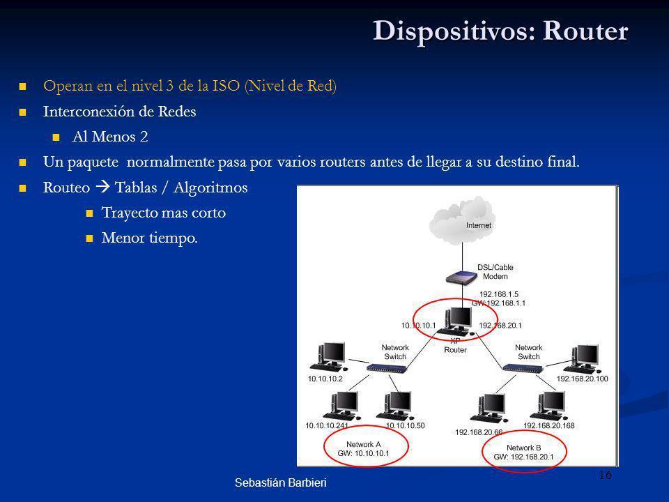 Sebastián Barbieri 16 Dispositivos: Router Operan en el nivel 3 de la ISO (Nivel de Red) Interconexión de Redes Al Menos 2 Un paquete normalmente pasa por varios routers antes de llegar a su destino final.
