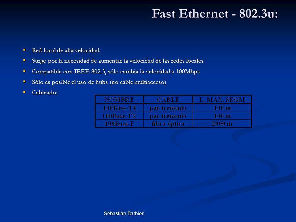 Sebastián Barbieri Fast Ethernet - 802.3u: Red local de alta velocidad Red local de alta velocidad Surge por la necesidad de aumentar la velocidad de las redes locales Surge por la necesidad de aumentar la velocidad de las redes locales Compatible con IEEE 802.3, sólo cambia la velocidad a 100Mbps Compatible con IEEE 802.3, sólo cambia la velocidad a 100Mbps Sólo es posible el uso de hubs (no cable multiacceso) Sólo es posible el uso de hubs (no cable multiacceso) Cableado: Cableado: