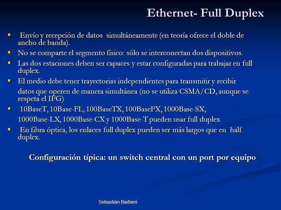 Sebastián Barbieri Envío y recepción de datos simultáneamente (en teoría ofrece el doble de ancho de banda).