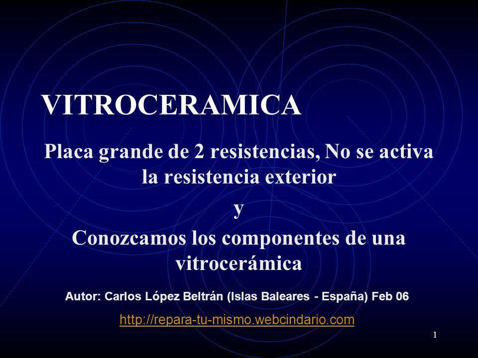 1 VITROCERAMICA Placa grande de 2 resistencias, No se activa la resistencia exterior y Conozcamos los componentes de una vitrocerámica Autor: Carlos L