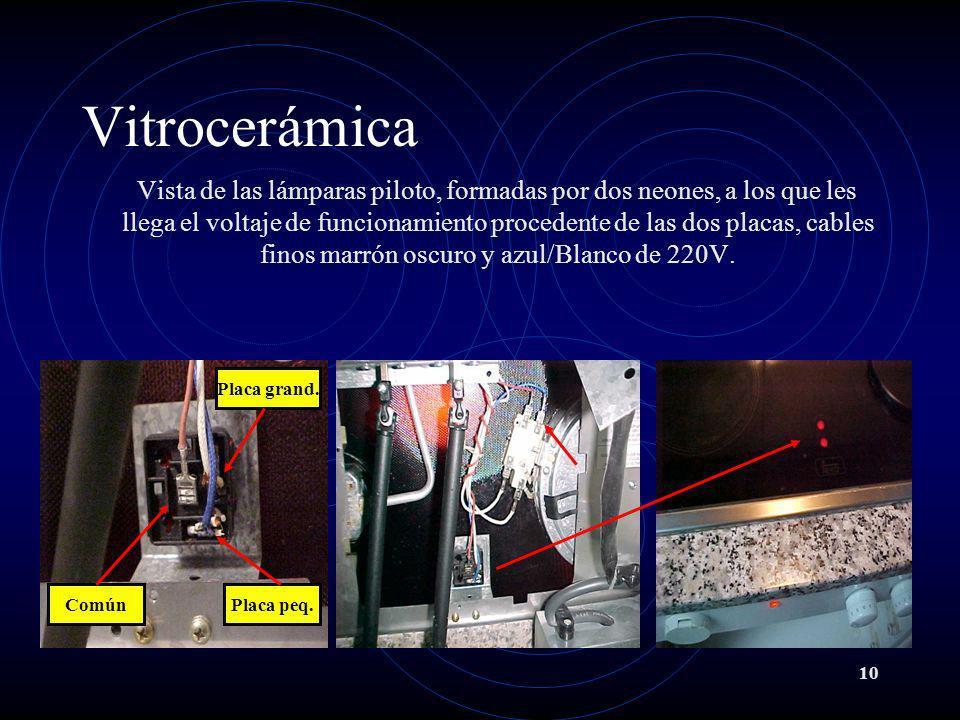 10 Vitrocerámica Vista de las lámparas piloto, formadas por dos neones, a los que les llega el voltaje de funcionamiento procedente de las dos placas,