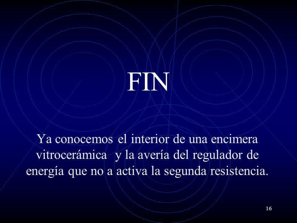 16 FIN Ya conocemos el interior de una encimera vitrocerámica y la avería del regulador de energía que no a activa la segunda resistencia.